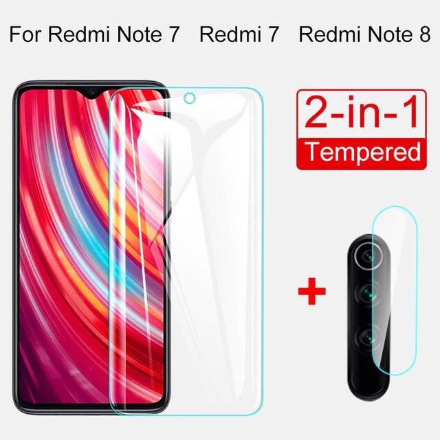 Protector de pantalla de vidrio templado 2 en 1 para Redmi Note 8 7 5 Pro, Protector de pantalla de vidrio templado para Redmi 7 7A K20 Pro 4X 5 Plus