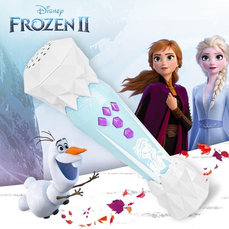 Genuine Disney Frozen 2 Elsa Anna Olaf Girls Princess Toys Singing Microphone Music Amplified Baby K Song Girl Children Gift