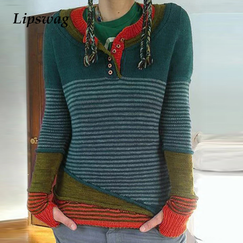 Knitted Sweater Women Casual Patchwork Long Sleeve Tops Pullover New Fashion Striped Autumn Winter Ladies Pull Sweaters Jumper