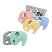 Chenkai mordedores para bebés de elefante de silicona de grado alimenticio, dentición de animales de dibujos animados, accesorio masticable DIY, collar con colgante, 10 Uds.