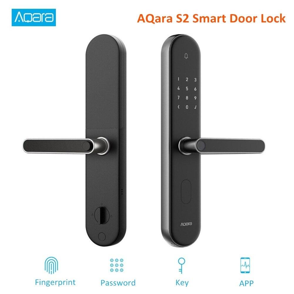 Original Aqara S2 huella dactilar cerradura de puerta inteligente trabajo con Mi hogar Aplicación de huellas dactilares contraseña cerradura sin llave para el Kit de hogar inteligente