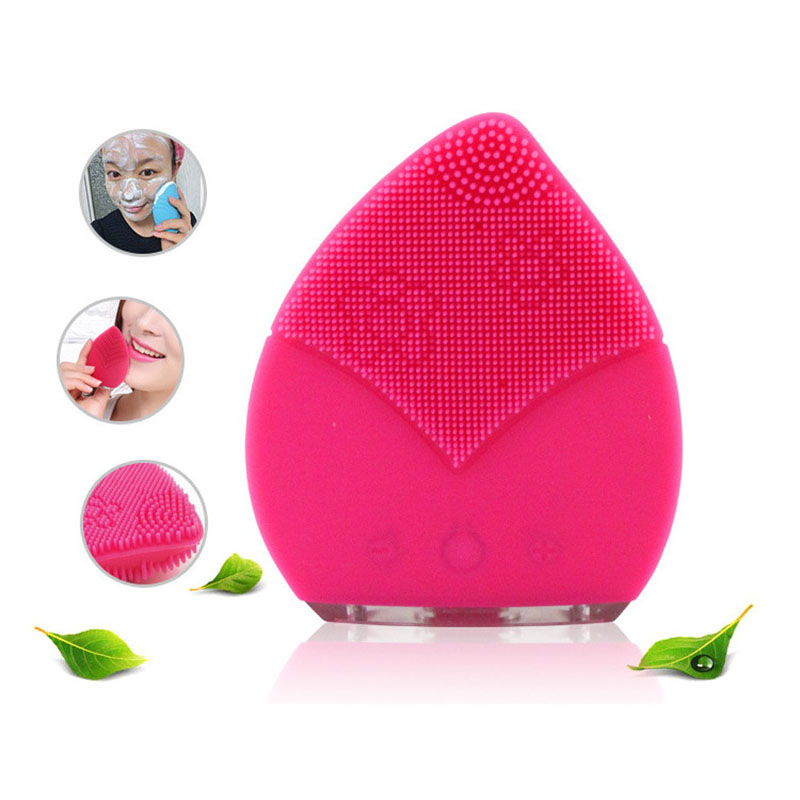 Silicone Waterproof Ultrasonic Mini Electric Facial Brush Cleaner Facial Skin Care Spa Massager Beauty Tool Device