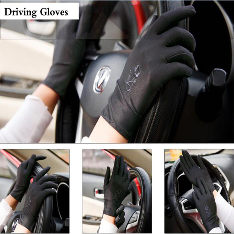 Women Embroidery Summer Driving Gloves Thin Blocking Ultraviolet Sunscreen High Elastic Performance Dance Etiquette Gloves