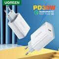 Ugreen PD зарядное устройство 30 Вт USB Type C быстрое зарядное устройство для iPhone 12 X Xs 8 Macbook телефон QC3.0 USB C Быстрая зарядка 4,0 3,0 QC PD зарядное устройст...