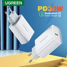 Ugreen PD Ladegerät 30W USB Typ C Schnelle Ladegerät für iPhone 12 X Xs 8 Macbook Telefon QC 3,0 USB C Quick Charge 4,0 3,0 QC PD Ladegerät
