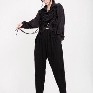 Image 4 - [EAM] נשים שרוך קפלים גדול גודל חולצה חדש דש ארוך שרוול Loose Fit חולצה אופנה גאות אביב סתיו 2020 1D195