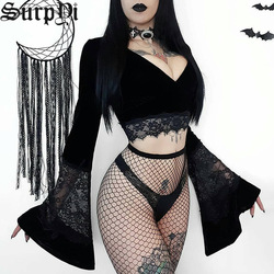 Women New Dark Gothic Tops Flare Long Sleeve Lace Elegant Hollow Out Sexy T-shirt Vintage Bodycon Female Black V-Neck Top