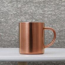 купить Stainless steel rose gold beer mug creative mug cup mug with handle cup double copper brushing cup по цене 610.28 рублей