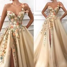 גבוהה אופנה ערב שמלות abendkleider פורמליות שמלת מפלגה לנשף שמלות פרחוני כתף אחת ארוך ערב שמלות אפליקציות העבאיה