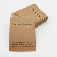 7cmx9cm faça um desejo cartões diy para colar hangtags de embalagem e embalagens pulseira cartões de papel marrom para pacotes de jóias
