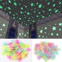 100 قطعة/المجموعة 3D نجمة الطاقة تخزين الفلورسنت توهج في الظلام مضيئة على ملصقات جدار للأطفال غرفة المعيشة غرفة المنزل صائق
