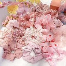 Женские милые розовые резинки для хвоста с цветочным принтом