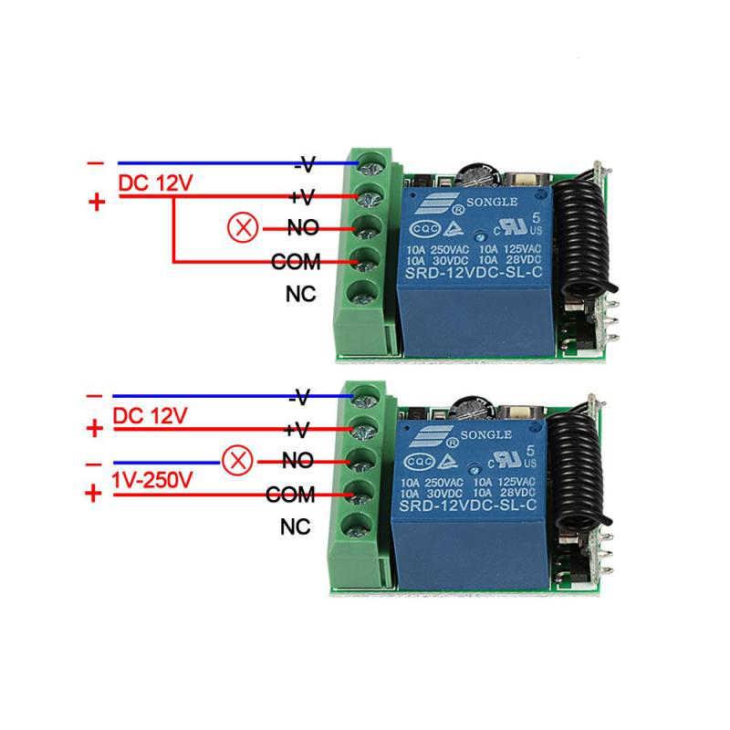 433 MHz รีโมทคอนโทรลไร้สายสวิทช์ DC 12V 1CH รีเลย์ตัวรับสัญญาณรีเลย์ + เครื่องส่งสัญญาณล็อคอิเล็กทรอนิกส์ควบคุม QACHIP