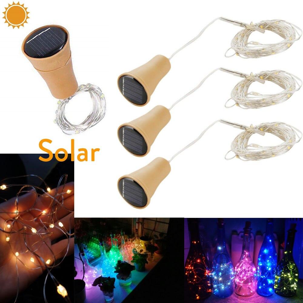 1M 10LEDs 1.5M 15LEDs 2M 20LEDs LED Solar Copper Cork Wire String Lights Wine Bottle For Party Festival Xmas Outdoor Decor Light