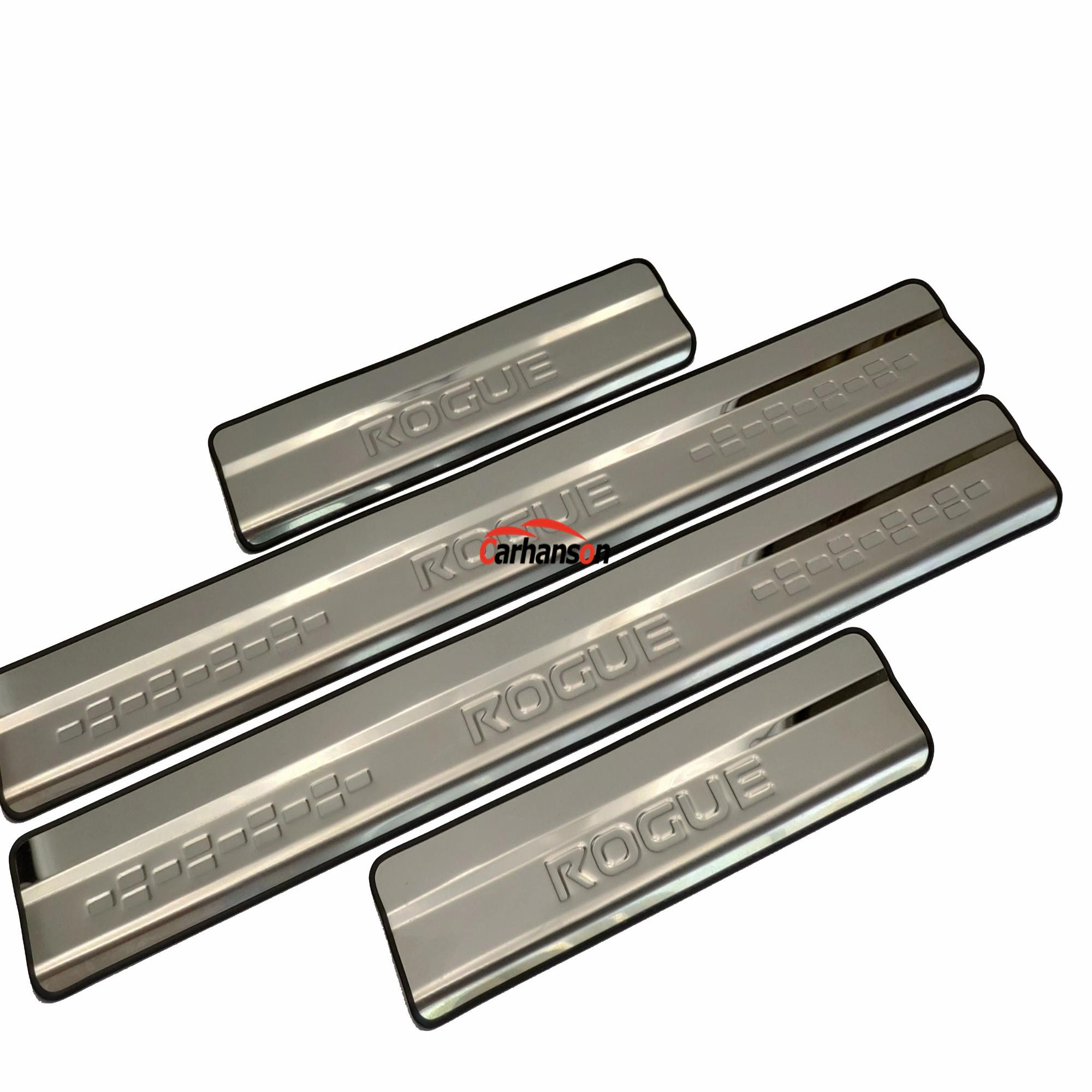 Stainless Steel Door Sill Scuff Plate Guard Trim For Nissan Rogue 2014-2019