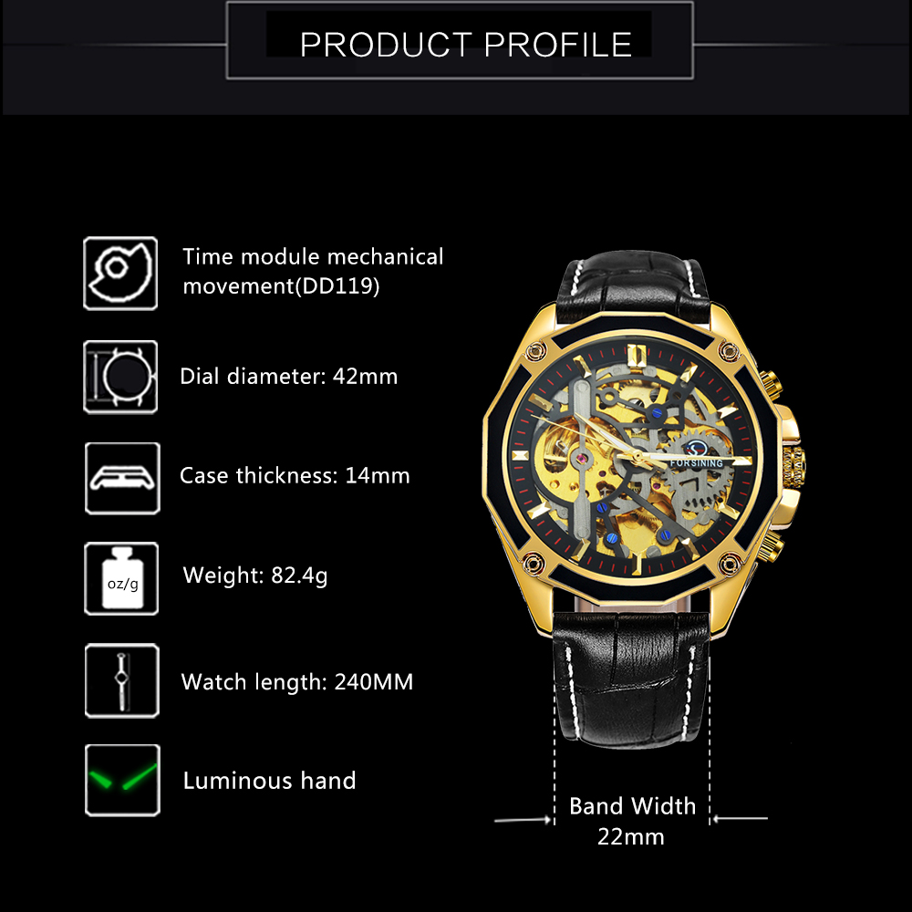 FORSINING Golden Top Brand Luxury Auto Mechanical Watch Men Stainless Steel Strap Skeleton Dial Fashion Business Wristwatches 5