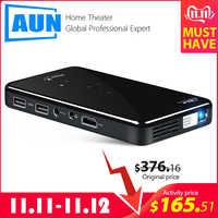 AUN MINI proyector X2 Android 7.1OS WIFI (opcional, Control de voz RAM: 2G ROM: 16G) Apoyo 1080 P HDMI portátil 3D Beamer no 4 K