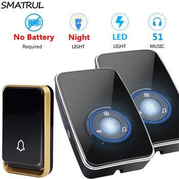 Timbre inalámbrico SMATRUL Reino Unido UE enchufe de EE. UU. sensor de luz nocturna autoalimentado impermeable sin batería timbre de puerta de casa 1 botón 2 receptor