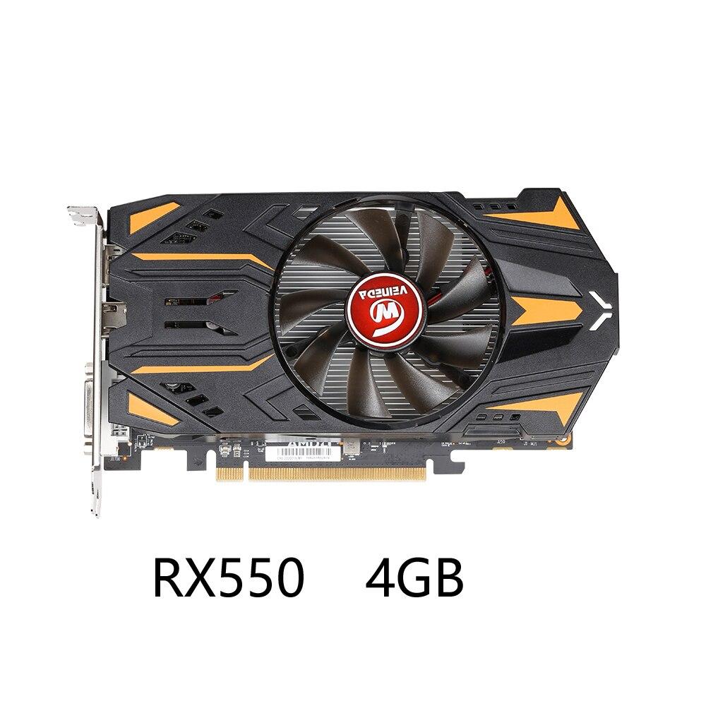 VEINEDA Оригинал RX 550 4 Гб видеокарты GPU AMD Radeon RX550 4 ГБ GDDR5 видеокарты PC Настольный компьютер игровая карта PCI-E X16