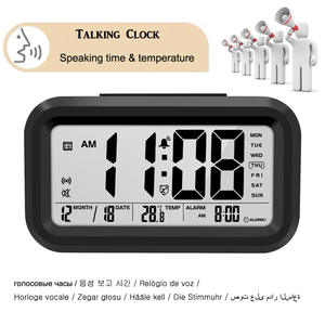 Talking Clock Speaking Time and Temperature Digital Snooze Alarm Clock with Thermometer Calendar Backlight