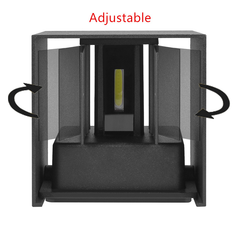 IP65 Waterproof 12W indoor outdoor Led Wall Lamp modern Aluminum Adjustable Surface Mounted Square Round Led Street Porch Light 3
