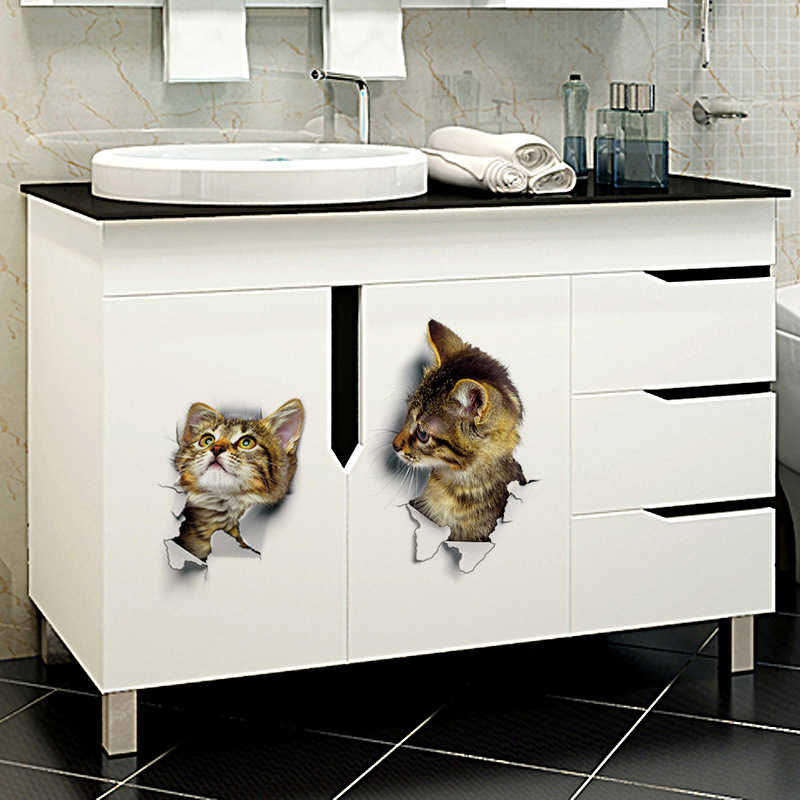 Assento do vaso sanitário adesivo de parede decoração do banheiro decalque mural decoração 3d bonito diy gato decalques adesivo geladeira à prova dwaterproof água cartazes