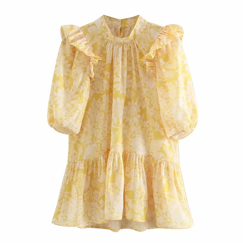 New Women Elegant Agaric Lace Floral Print Yellow Casual Smock Blouse Ladies Pleated Ruffles Chic Femininas Shirts Tops LS6388
