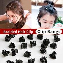 Mini pinzas de plástico para el pelo para mujer, broches para el cabello bonitos, horquilla de plástico negra, pinzas para gorros para mujer, herramientas de estilismo para el cabello