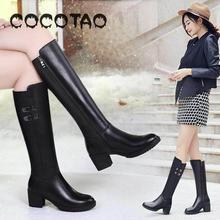 Г. Новые зимние теплые женские ботинки, нескользящая обувь с круглым носком, женские ботинки на толстом высоком каблуке
