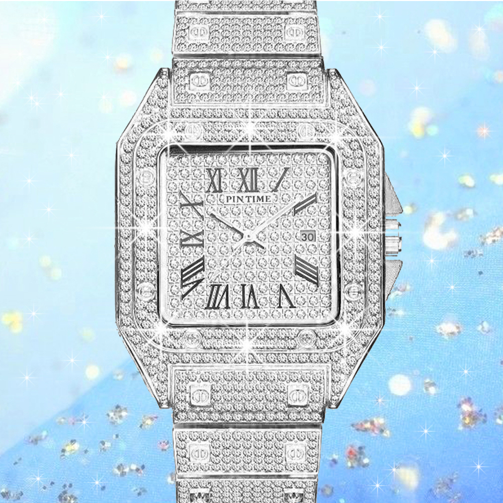 Bling Square Iced Out Watch Men Creative Hip Hop Mens Watches Top Brand Luxury Gold Date Clock Relogio Masculino Horloges Mannen