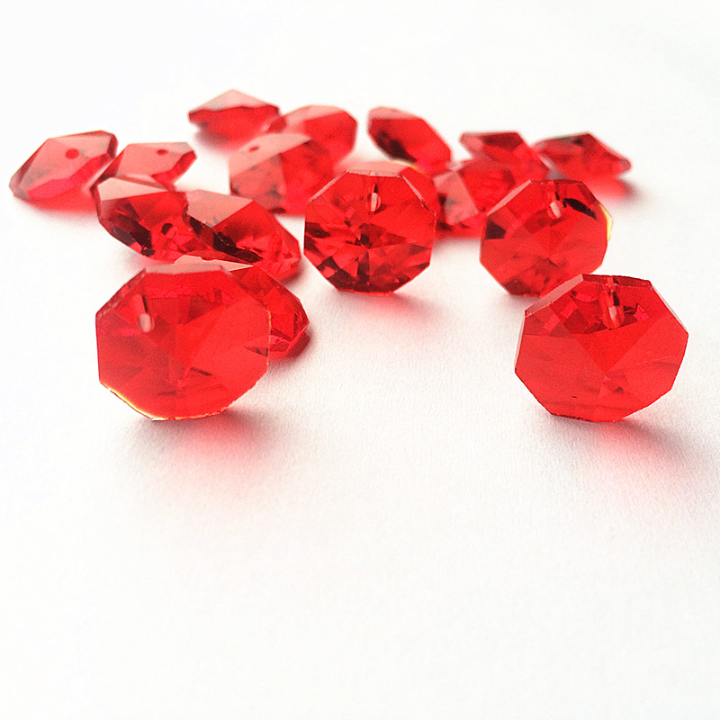 Высокое качество 20 шт./лот многоцветный 14 мм хрустальные Восьмиугольные бусины в одном отверстии K9 кристаллы части для люстры аксессуары DIY Свадебные и x-дерево украшения - Цвет: Red