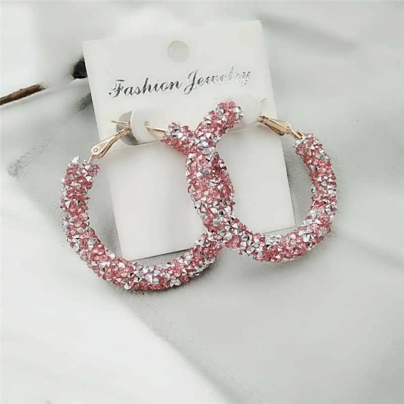 Brincos grandes de cristal brilhante, joias da moda multicoloridas de rosa, azul, preto, branco, multicolor, fosco, com cristal brilhante, novo design feminino