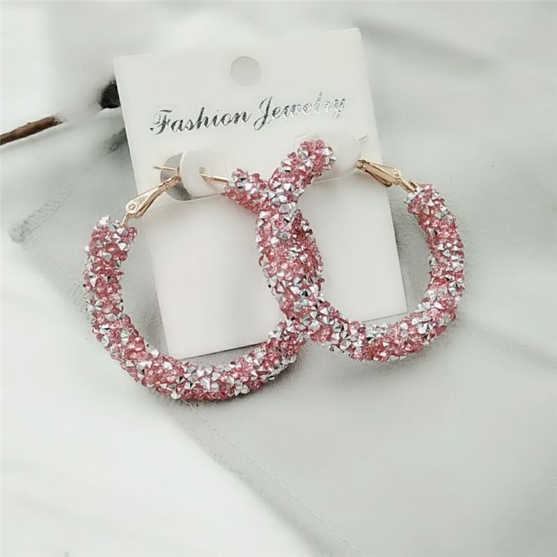 Earrings Charm Pink Blue Black White Multicolor Matte Circle Shiny Crystal Big...