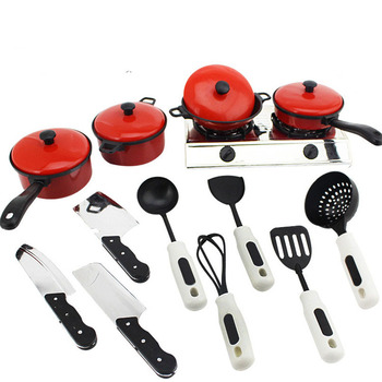 13Pcs/set Kids Pretend Play Kitchen Toys Cooking Pots Dishes Simulation Tableware Kitchen Girls Play House Educational Toy Gift geek king 13pcs high quality set kitchen cooking toy children diy pretend kitchen toy role play toy set kids educational toys