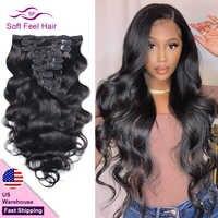 Pinza de pelo suave de la onda del cuerpo brasileña en extensiones de cabello humano 8 Clip de Color Natural unids/set Ins pelo Remy 10 -26 pulgadas 120 gramos