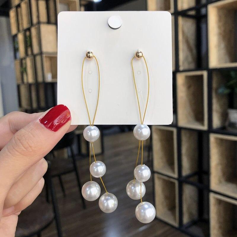 EK807 Korean Long Simulated Pearl Drop Earrings For Women Fashion Temperament Ear Line Tassel Earrings Valentine's Day Gift