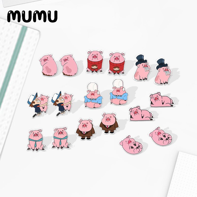 2020 New Cute Pink Pig Earring Lovely Piggy Acrylic Earring Silver Plated Stud Earrings Anime Cartoon Epoxy Jewelry