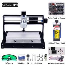 DIY 3018 Pro CNC Router Laser Engraving Machine Engraver GRBL1.1 Offline Control 1000mW 2500mW 5500mW 7W 10W 15W Module