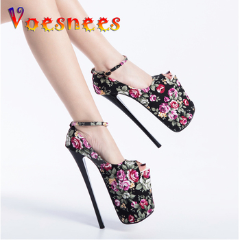 Voesnees Fashion Stiletto Pumps Women Shoes Spring Autumn Platform Women High Heels 22 CM Shallow Flowers OL Female Party Shoes image