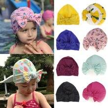 Шапка-тюрбан с цветочным принтом и черепом для новорожденных девочек ясельного возраста; шапочка для плавания