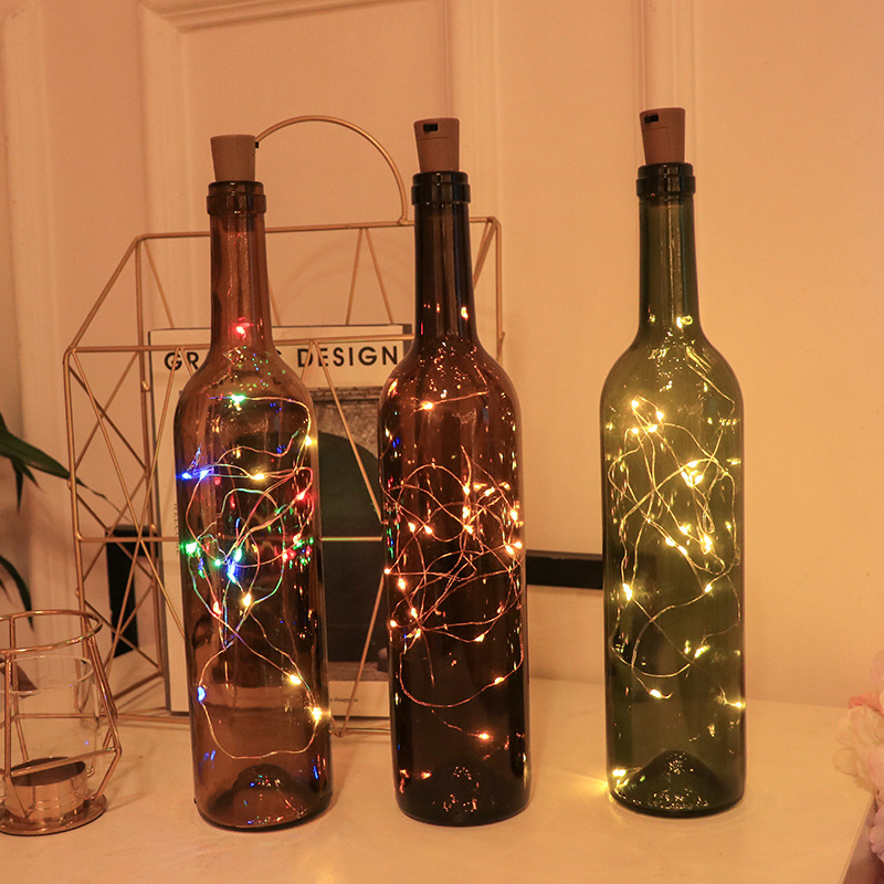 1m 2m 3m Copper Wire LED String Lights Christmas Decorations For Home Garland Bottle Stopper For Glass Craft New Year Decoration
