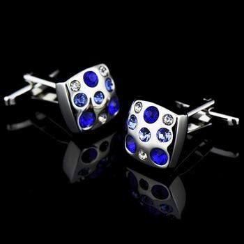 Royal blue/ Skye Blue High Grade Simple Crystal Cuff Links 5