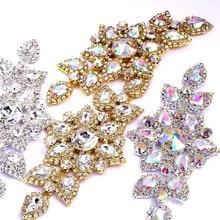 Cristal AB couture sur strass, 14x6,5 cm, 1 pièce, or/argent, fond plat, couture claire, mariage, beau Design Y2504