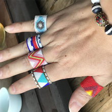 2020 novo multicolorido do vintage mau olho mão miyuki frisado anéis para mulheres homens bohemia artesanal tecido amizade anel jóias presente