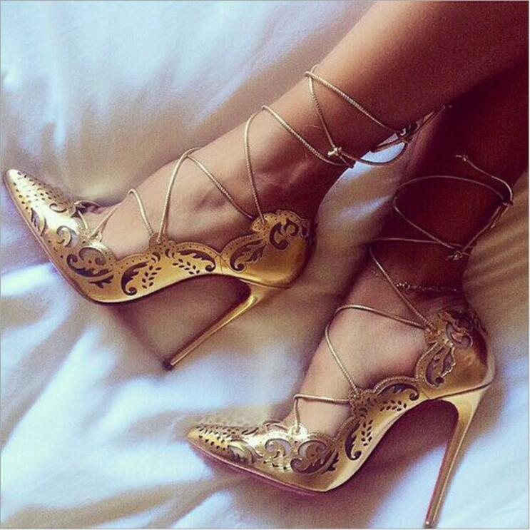 Encaje Vintage de tacón alto Sexy 12cm puntiagudos Cruz-lazo señoras Cordón de zapato-up mujer bombas fiesta boda zapatos personalizados de gran tamaño Zapatos de fiesta rojos, negros, amarillos, para mujer, Gladiador Stiletto sandalias de, tacones altos sexis con cordones cruzados, sandalias de verano para mujer