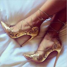 Vintage Lace High Sexy Heels 12cm Pointed Toe Cross-tie Ladi