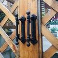 Ретро черный чугунный домашний сад Декор дверная ручка пара Европейский Винтаж Ручная работа потертый шик тяжелые металлические двери тян...