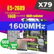 X79 터보 마더 보드 LGA2011 ATX 콤보 E5 2689 CPU 4pcs x 4GB = 16GB DDR3 RAM 라디에이터 1600Mhz PC3 12800R PCI E NVME M.2 SSD