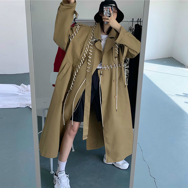 TVVOVVIN Patchwork Slim Drawshring   Trench   Long Women Elegant Fashion Coat Top Clothes 2019 Personality Pocket Autumn New D167