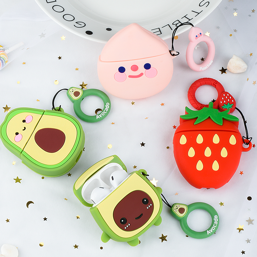 For Apple AirPods 2 1 Earphone Soft Case For AirPods 1 2 Cartoon Strawberry Avocado Peach Cover Case 11 Pro Max Funda With Hook